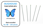 BUGHOUSE Insect Photo pins NR-00 (100 pieces) black rust proof steel