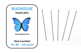 BUGHOUSE Insect pins NR-00 (100 pieces) black rust proof steel
