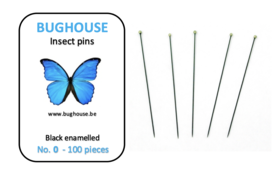 BUGHOUSE Insect pins NR-0 (100 pieces) black rust proof steel