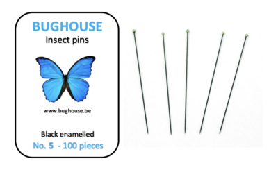 BUGHOUSE Insect pins NR-5 (100 pieces) black rust proof steel