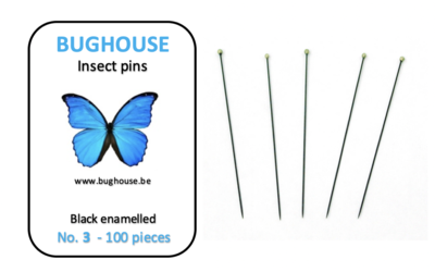 BUGHOUSE Insect pins NR-3 (100 pieces) black rust proof steel