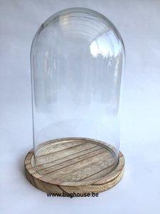 "Glass dome ""Large"" (Naturel Base) H:22cm Diam:14cm"