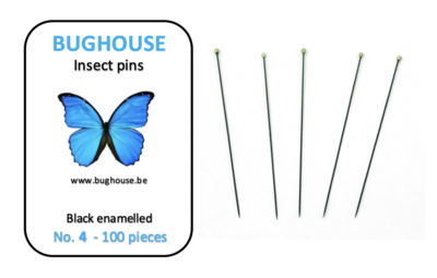 BUGHOUSE Insect pins NR-4 (100 pieces) black rust proof steel